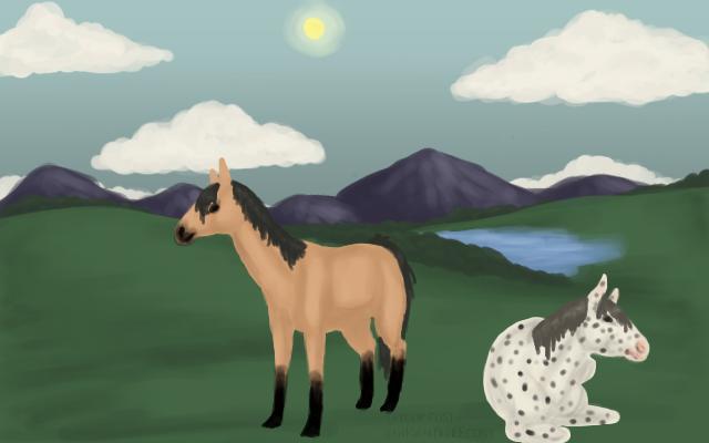 speed painting: horses by awkwardUneecorn