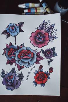 sheet of roses