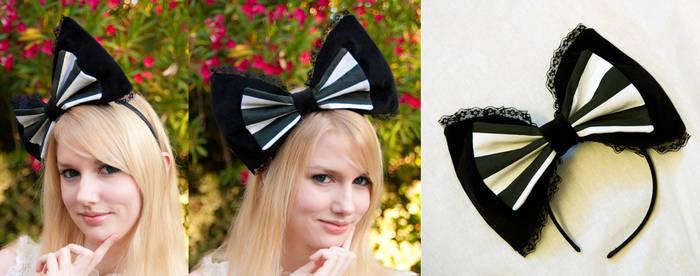 Black and White Stripes Bow