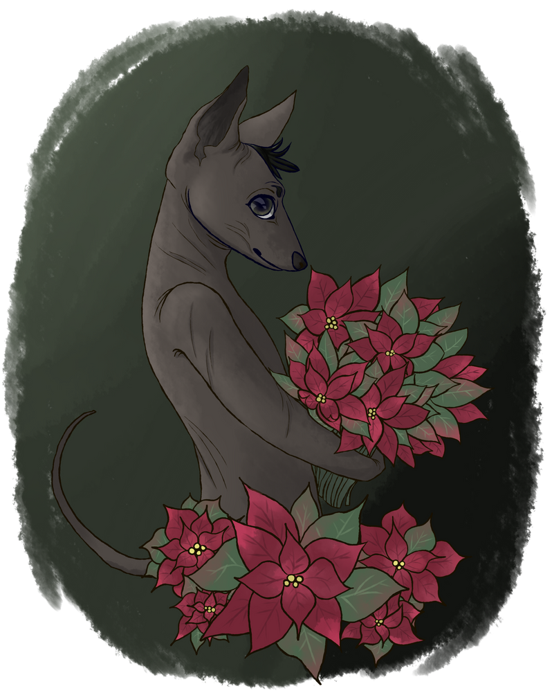 ac #150: uhh, dog holding leaves by heretobequeer