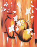 Flowers in vase, abstract