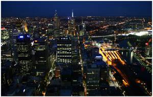 Flinders Street at Night by aare