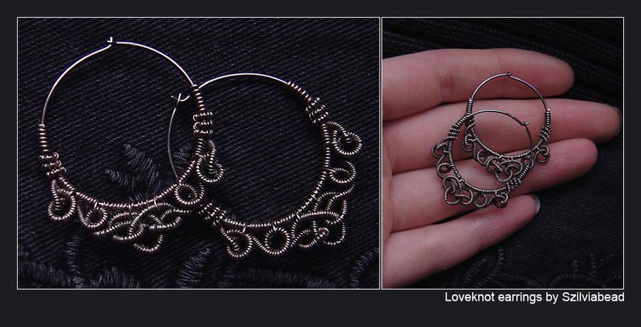 Loveknot hoop earrings by bodaszilvia