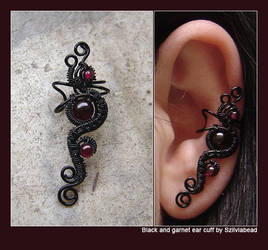 Black and garnet ear cuff by bodaszilvia