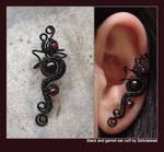 Black and garnet ear cuff