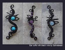 Ear cuffs with black wire by bodaszilvia
