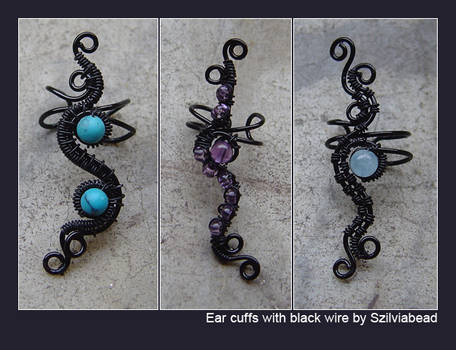 Ear cuffs with black wire