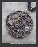 Steampunk moon pendant