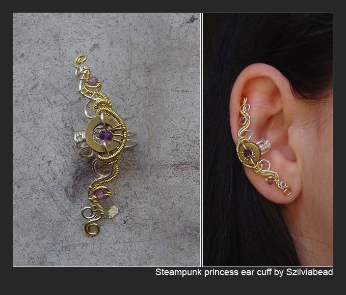 Steampunk princess ear cuff by bodaszilvia