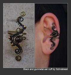 black and gunmetal ear cuff by bodaszilvia