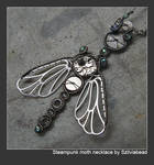 Steampunk moth necklace