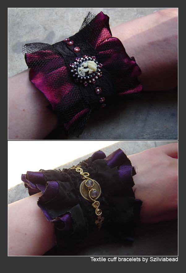 Textile cuff bracelets by bodaszilvia