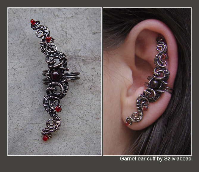 Garnet ear cuff by bodaszilvia