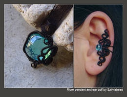 River ear cuff and pendant by bodaszilvia