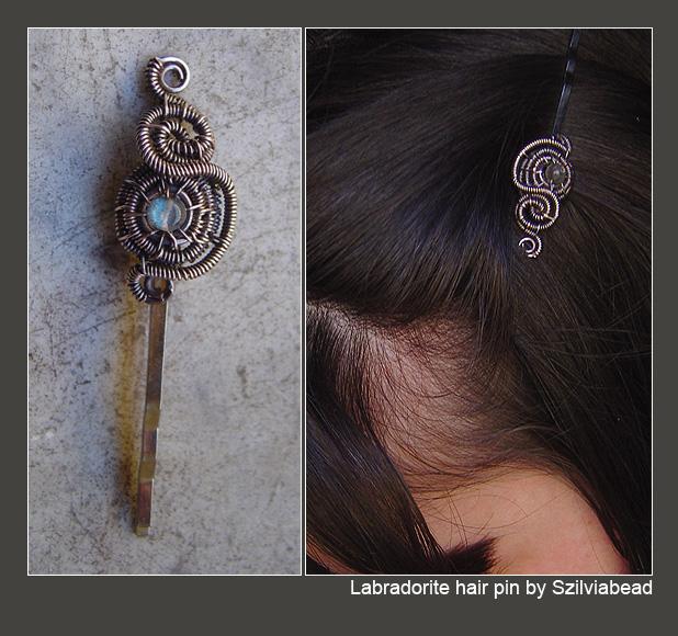Labradorite hair pin by bodaszilvia