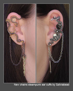New chains steampunk ear cuffs by bodaszilvia