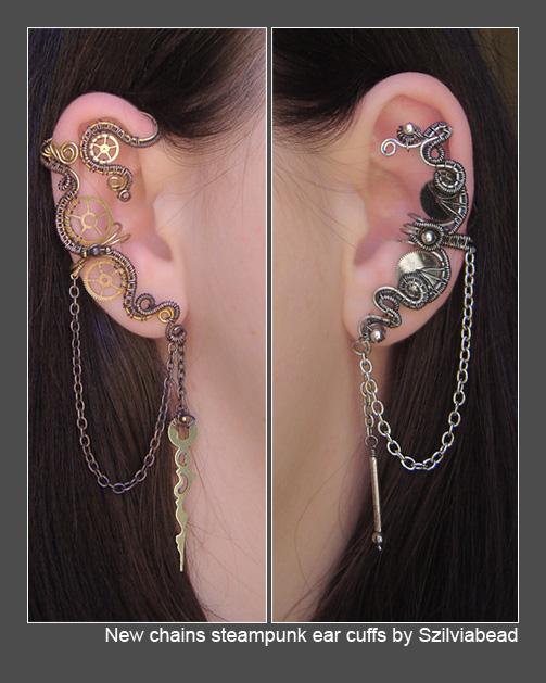 New chains steampunk ear cuffs by bodaszilvia