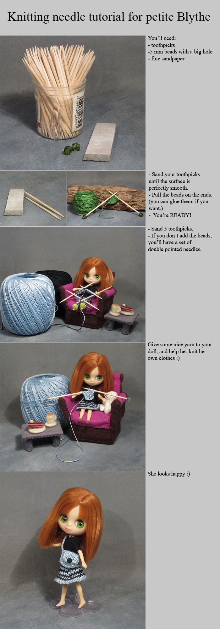 Easy knitting needle tutorial for petite blythe by bodaszilvia
