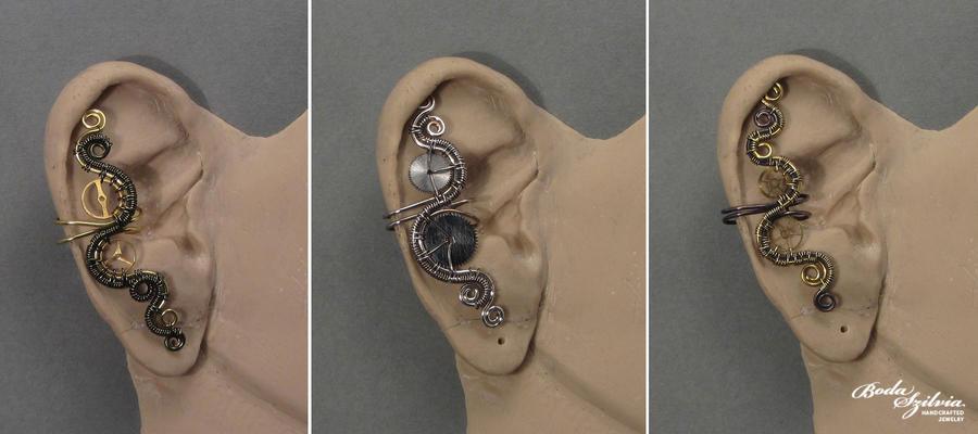 Steampunk ear cuffs by bodaszilvia