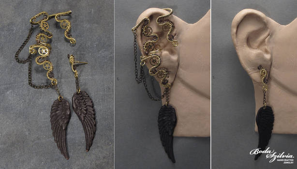 Winged steampunk ear wrap with post earring