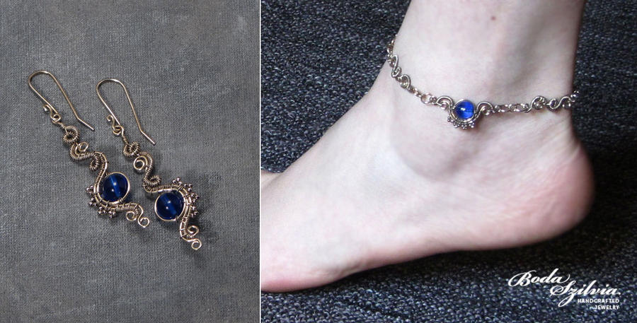 SEA MAIDEN earrings and anklet by bodaszilvia