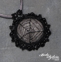 Lacy spiderweb pendant by bodaszilvia