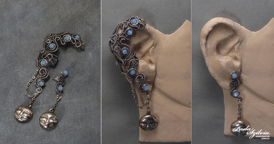 FULL MOON - OOAK ear wrap with post earring by bodaszilvia