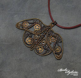 Steammpunk moth pendant by bodaszilvia