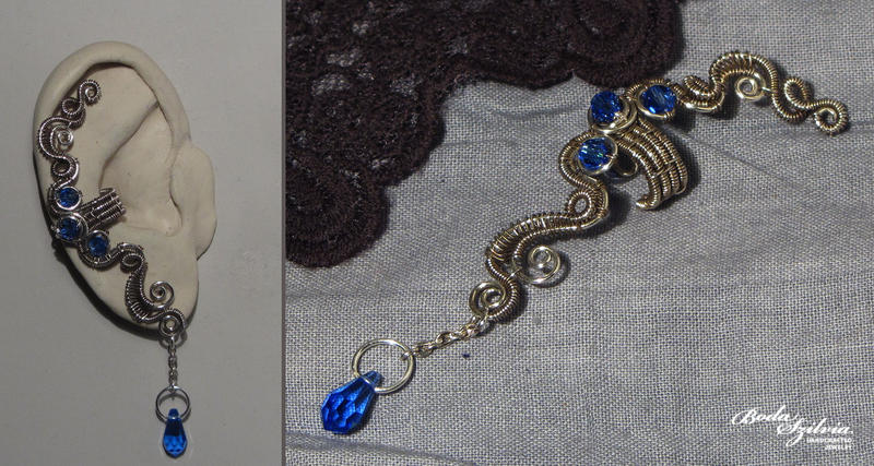 Sapphire ear cuff by bodaszilvia