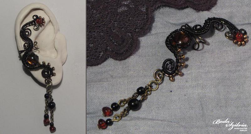Dark chocolate ear cuff by bodaszilvia