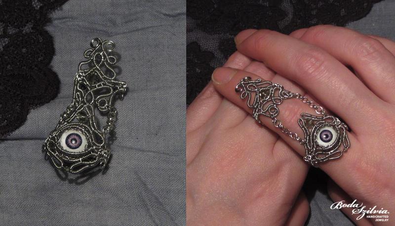 Evil eye armor ring by bodaszilvia