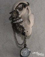 Time keeper steampunk ear wrap by bodaszilvia