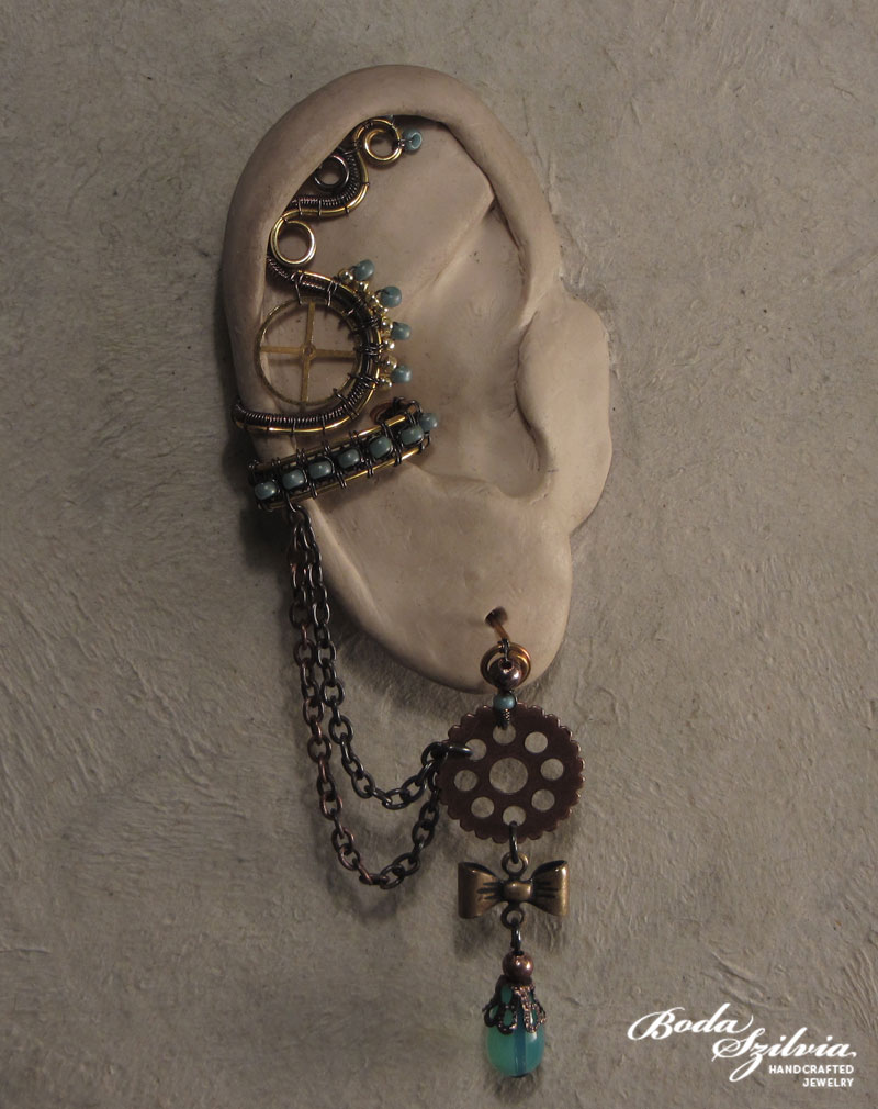 Turquoise steampunk ear cuff by bodaszilvia