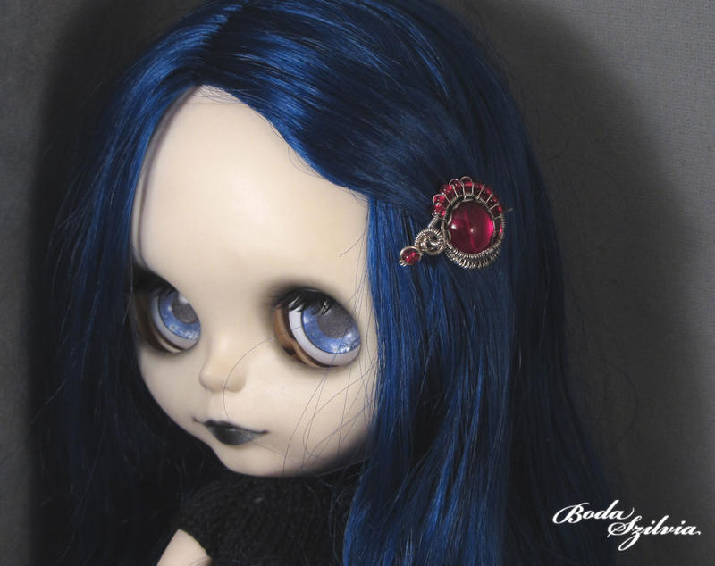 Red Blythe hair pin by bodaszilvia