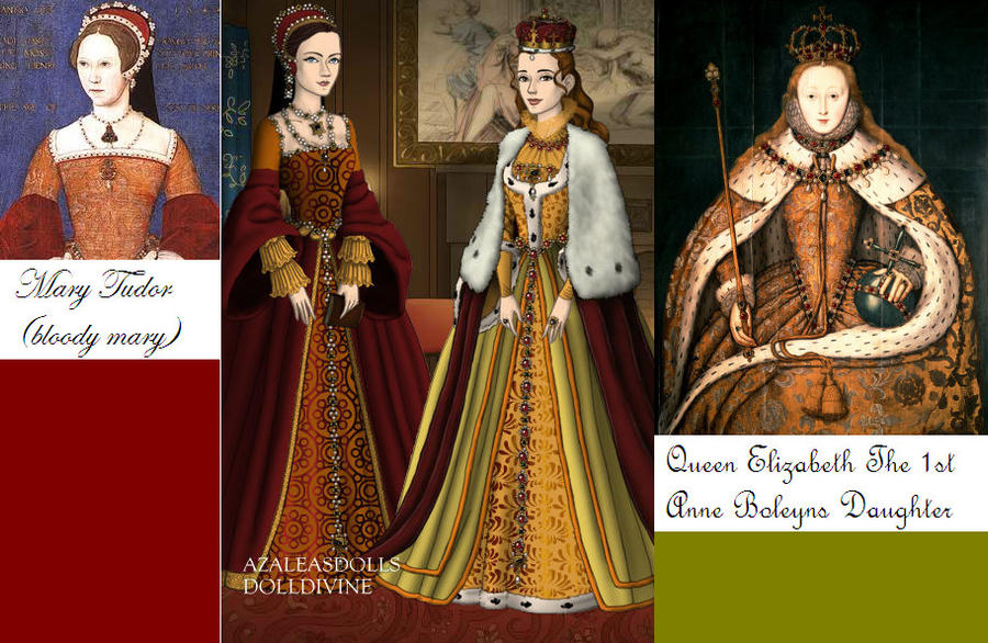 Queen Elizabeth and Mary Tudor by monsterhighlover3