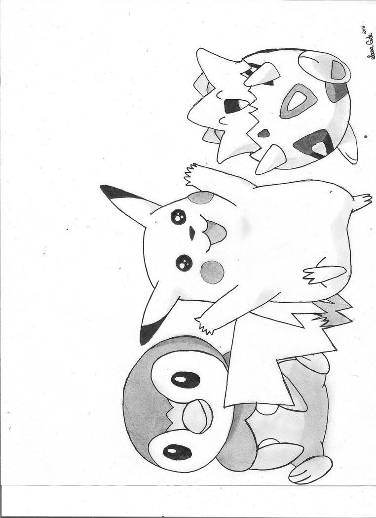 togepi coloring pages - piplup pikachu and togepi by saramaemassacre on deviantart