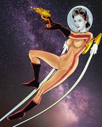Space retro pin-up