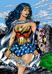Wonder Woman - Line Art by rrice