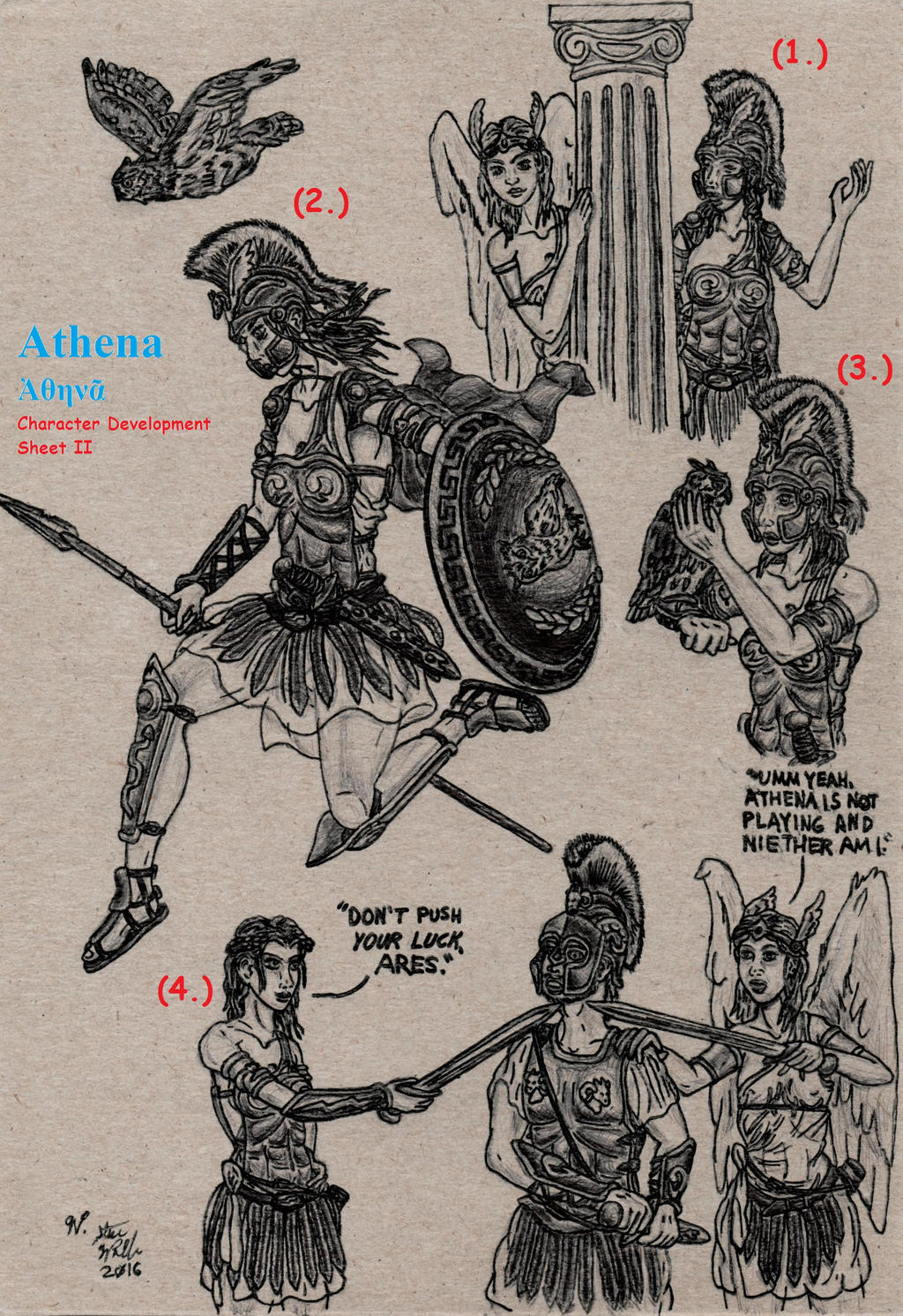 Athena Character Developement Sheet II by Deorse