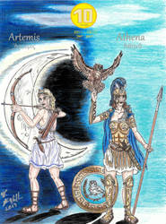 Artemis and Athena OC's 10th Anniversary by Deorse