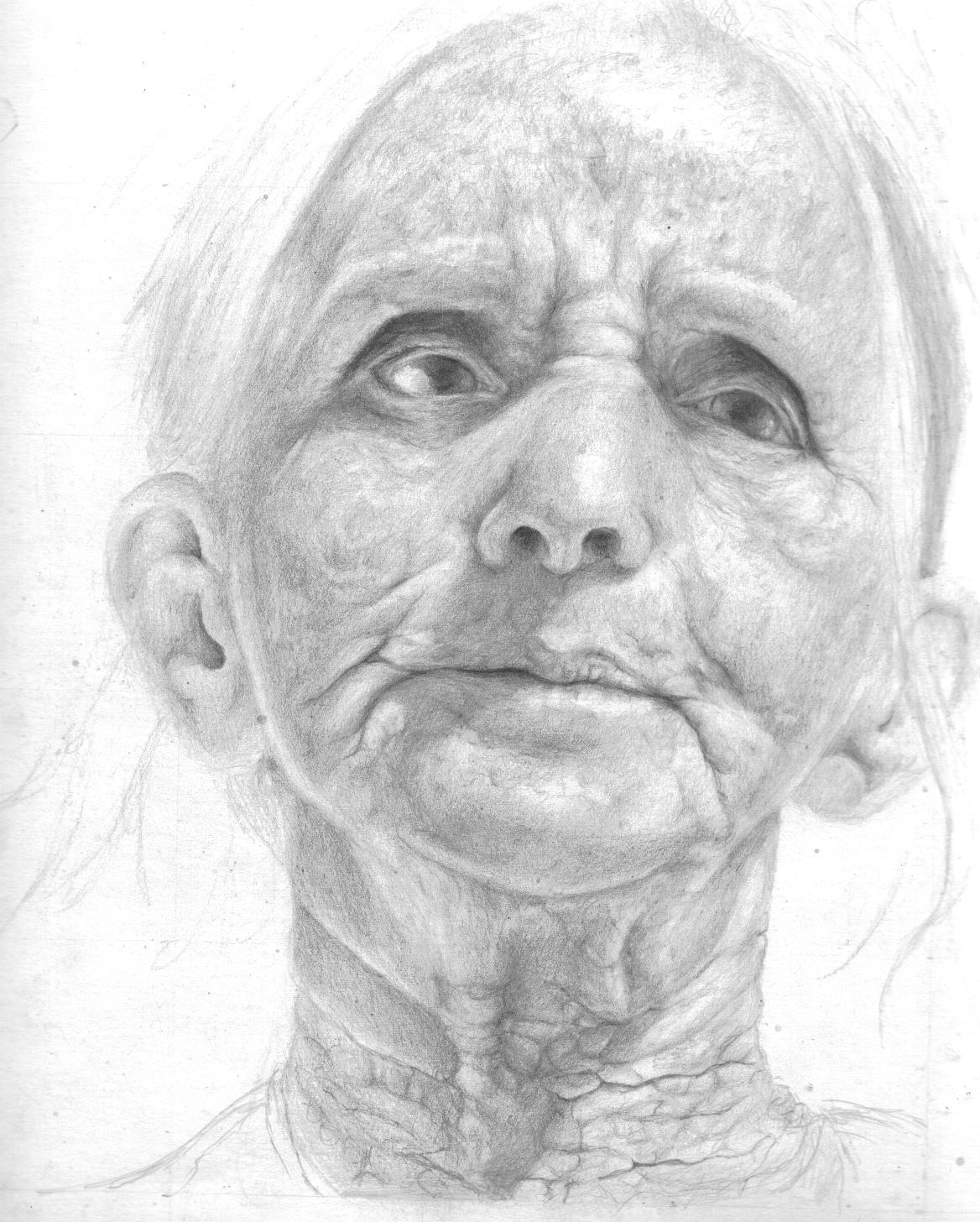 how to draw an old lady