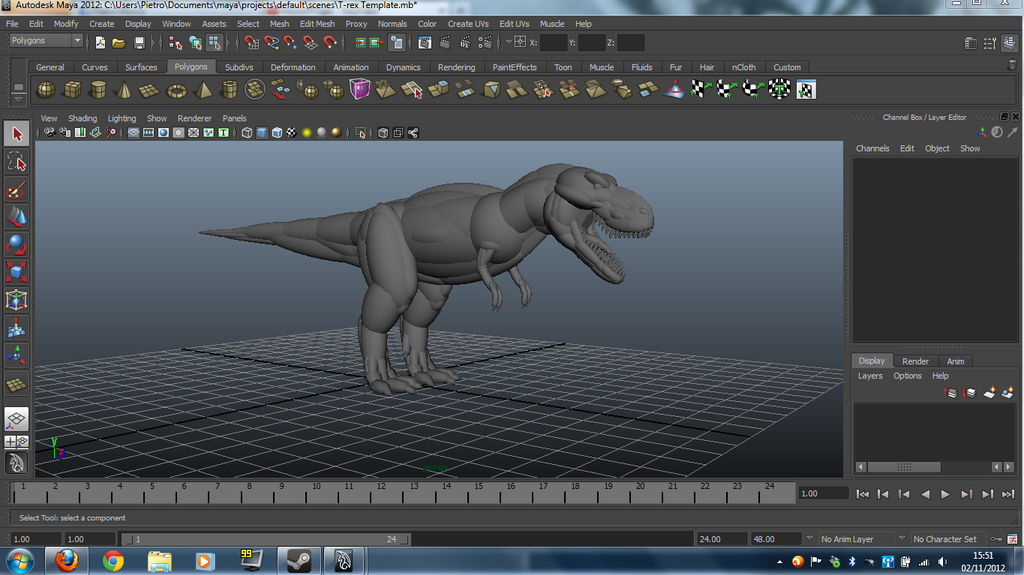 T rex template with autodesk maya by leomon90 on deviantart for Autodesk maya templates