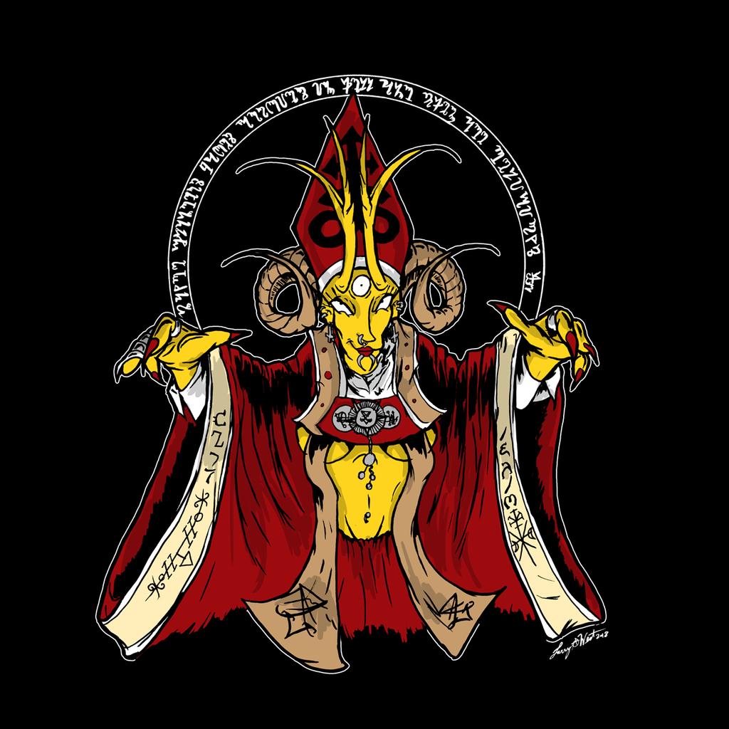Simpsons Satanic Tryptic - Helen Lovejoy by luvataciousskull