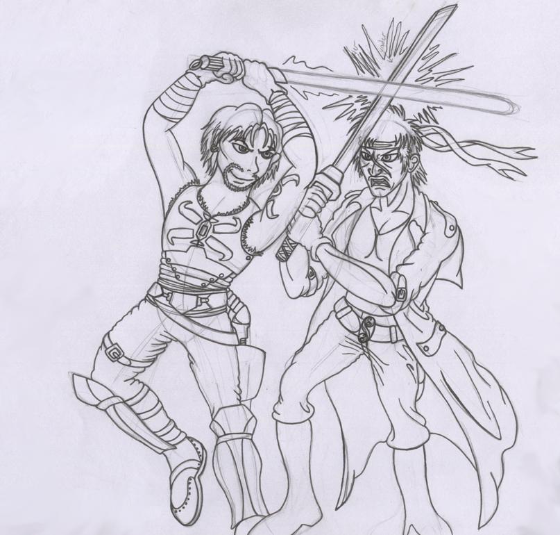 FanArt Parody Highlander_vs_skywalker_lineart_by_jamey_the_hedgehog-d4inrul