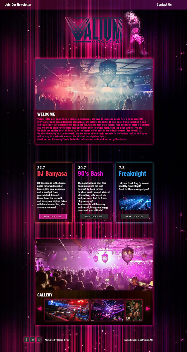 Valium Nightclub Website Redesign by Avalonis