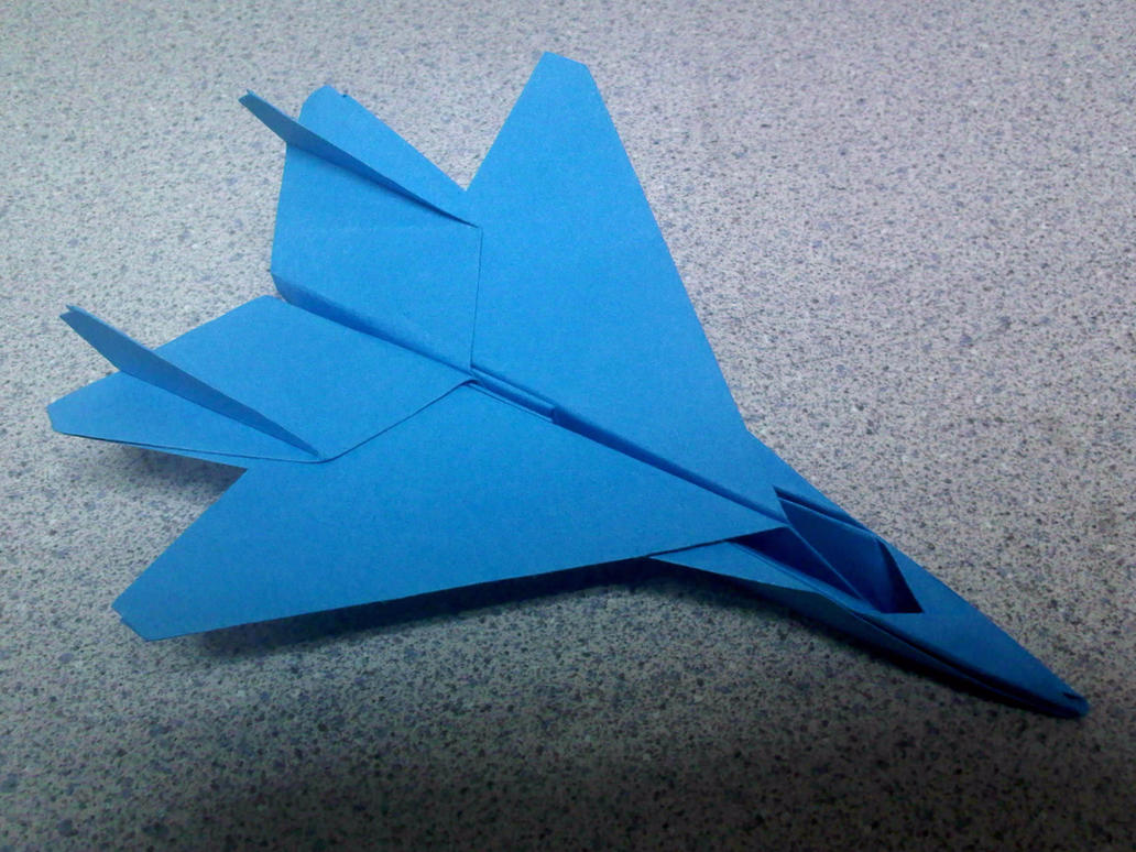 blue origami f15 fighter jet by theorigamiarchitect on
