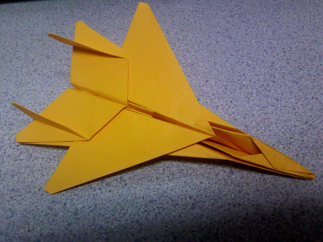 gold origami f15 fighter jet by theorigamiarchitect on