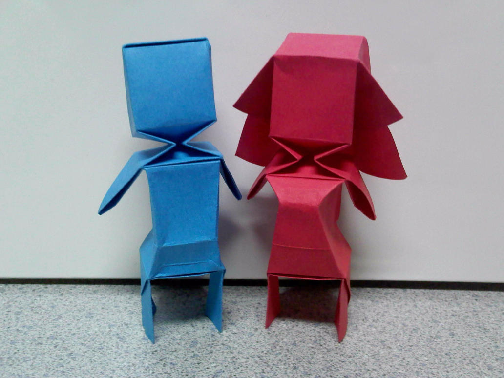 origami bloxy boy and girl by theorigamiarchitect on