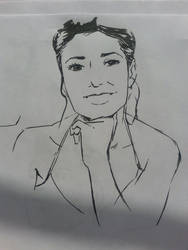 Emmanuelle Chriqui ink drawing by art-of-stroke