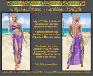 Bikini + Pareo - Caribbean Twilight color